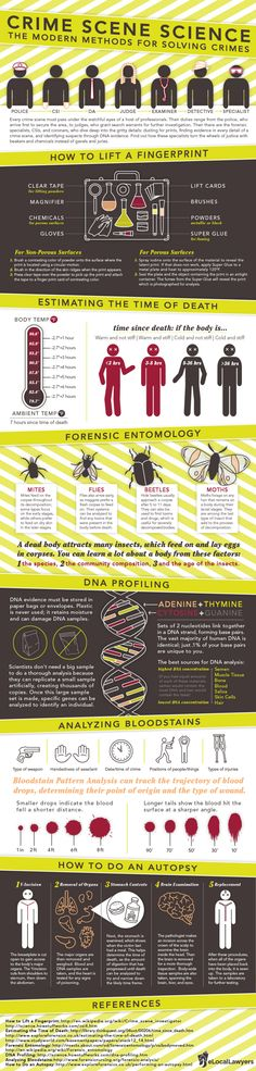 """Crime Scene Science: The Modern Methods for Solving Crimes Infographic"" Once again, being a detective would be sweet, but what's more likely is writing a detective novel or something, and this will help! Writing Resources, Writing Help, Writing Tips, Writing Prompts, Science Writing, Forensische Anthropologie, Perito Criminal, Forensic Psychology, Forensic Science Career"