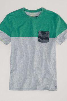 AEO Striped Pocket T-Shirt, Men's, Size: 2XL, Limeade