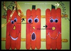 crafts with popicle sticks | Pumpkin Craft - Use Popsicle sticks! | Halloween