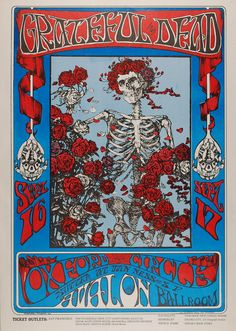 "Vintage Concert Poster -Family Dog - 26  Grateful Dead, Avalon Ballroom. September 16-17 1966.  Mouse & Kelley's Iconic ""Skull & Roses"""