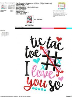 Embroidery design 5x7 6x10 Tic tac toe I love by SoCuteAppliques