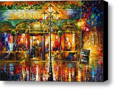 Misty Cafe — Big Abstract Cityscape Wall Art Palette Knife Oil Painting On Canvas By Leonid Afremov. Oil Painting On Canvas, Canvas Art, Canvas Size, Wall Art Prints, Canvas Prints, Popular Paintings, Palette Knife Painting, Leonid Afremov Paintings, Modern Art