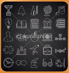 Education hand-drawn icons on blackboard