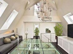 Contemporary Loft Apartment Interior Design with Glass Floor Ideas by Upgrade-Living - Home Design Inspiration Interior Design With Glass, Apartment Interior Design, Home Design, Floor Design, Design Ideas, Attic Design, Loft Stil, Style Loft, Appartement Design