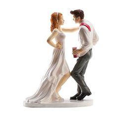 Muñeco para la tarta de boda perfecto para aquellos novios que no pueden esperar al momento de la barra libre