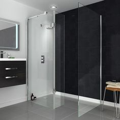 Minimalist styling and built from toughened 8mm glass: our Saturn walk in shower enclosure is sure to be a stand out feature of your new bathroom.