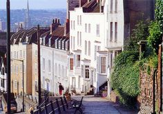Further up the hill the houses date from the Century. St Michael, Bristol Uk, Fortification, Gloucester, Britain, Saints, England, Street View, Santos