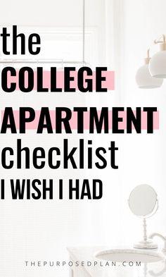 College Apartment Checklist, First College Apartment, Dorm Room Checklist, First Apartment Essentials, College Apartments, 1st Apartment, College Essentials, College Hacks, Apartment Living