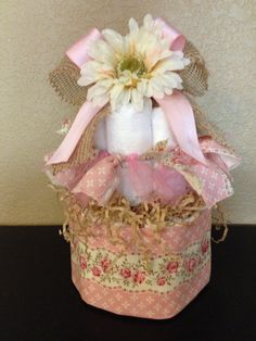 2-Tier Shabby Chic Diaper Cake. $45.00, via Etsy.