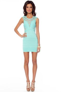 Rib and Laced Bandage Dress in Mint #Tip #TipOrSkip #TopTips #style #fashion #women #womens #dress