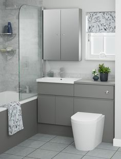 Dust Grey Evoke a stylish look that makes an impact with Dust Grey furniture, ideal for a bathroom with a modern look. Grey finishes are very on trend for this year, Classic Bathroom Furniture, Small Bathroom Interior, Small Bathroom Layout, Grey Furniture, Small Bathroom Suites, Furniture Ideas, Upstairs Bathrooms, Grey Bathrooms, Fitted Bathrooms