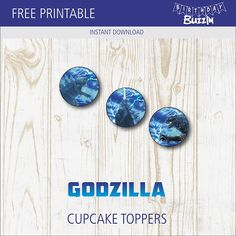 Use these free printable Godzilla cupcake toppers to decorate frosted cupcakes for a Godzilla themed birthday party. Printable Banner, Party Printables, Free Printables, 7th Birthday, Birthday Party Themes, Godzilla Birthday Party, Godzilla Tattoo, Godzilla Wallpaper, Godzilla Toys