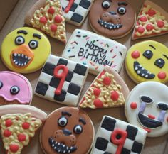 These were for my nephew's birthday. He loves Five Nights at Freddy's! 11th Birthday, 6th Birthday Parties, Birthday Fun, Girl Parties, Five Nights At Freddy's, Fnaf Cake, Kids Birthday Themes, Freddy S, Birthday Cookies