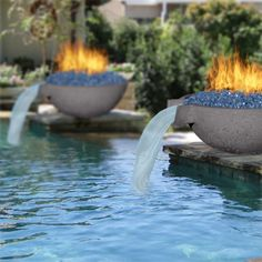 REAL CONCRETE FIRE And Water BOWLS Looking for a new centerpiece? Why not go with a fire and water bowl? ! Our 33 Inch Wok Fire and Water Bowl is great if you want something that'll really make a great impression with your guests while you enjoy your outdoor space. This round modern fire and water bowl is ideal as a pool addition, but with the right setup it can be part of a beautiful and un...