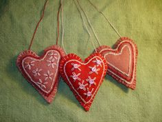 My embroidered heart ornaments