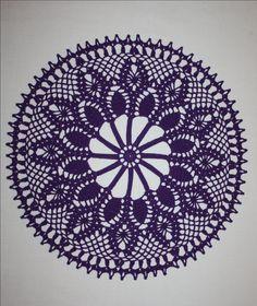 Purple Crochet Doily, Pineapple Doily, Round Lace Doily, Purple Lace Tablecloth, Cotton Doily, Table Decoration, Dresser Doily 12 inches by HomeDecorByIryna on Etsy