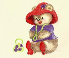 Little miss teddy and the Red Hat Teddy Society. Color pencil