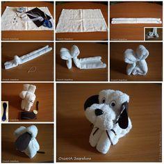 DIY Cute Towel Puppy | iCreativeIdeas.com Follow Us on Facebook --> https://www.facebook.com/iCreativeIdeas