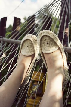 Crocheted home slippers from natural white organic wool by Onstail, $48.00