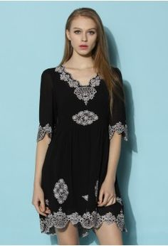 Infinity Floral Embroidered Crepe Dress - Dress - Retro, Indie and Unique Fashion