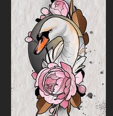 Search inspiration for a New School tattoo. Swan Tattoo, Rose Drawing Tattoo, Tattoo Sketches, Tattoo Drawings, Girl Leg Tattoos, Cute Tattoos, Mini Tattoos, Traditional Tattoo Girls, Traditional Tattoo Animals