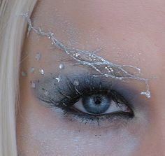 silver woven eyebrow: to show the impression of magic, inhuman, fairylike figure, silver and shiny for a gesture to a mirror