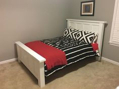 This plan makes a bed frame for a full size mattress.  Although a full size mattress should be standard size.    Please make sure you measure yours to see if it will fit before you start building to see if you need to adjust the width or length at all. Girls Full Bed, Kids Full Size Beds, Full Size Trundle Bed, Full Bed Mattress, Bed Frame With Mattress, Diy Full Size Headboard, Bed Sheets, Bed Frame Plans, Full Bed Frame