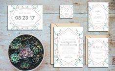 Rose Gold Geometric Wedding Invitation Suite - Printable Wedding Invitation Suite, DIY Wedding Invitation, Geometric Invite Rose Gold Invite