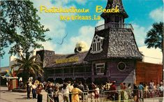 """Pontchartrain Beach New Orleans, LA (circa The new Haunted House at Pontchartrain Beach is the newest of three """"fun houses"""" that have been landmarks in the history of New Orleans' noted amusement park. Haunted Attractions, Wax Museum, Amusement Park, Vintage Postcards, Photo S, New Orleans, History, Retro, House Styles"""