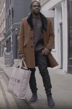 Pusha T in Burberry coat and Dries Van Noten sweater Fashion 101, Mens Fashion, Kanye West Style, Pusha T, Burberry Coat, Cool Gear, Black Is Beautiful, Bottega Veneta, Casual Wear