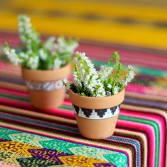 A super-simple way of decorating pots, big or small (I chose tiny) in a Peruvian style!