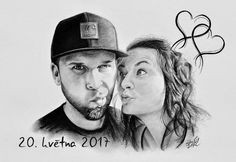 Kresba - portrét novomanželů dle selfie předlohy