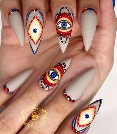 50 Stylish Evil Eye Nail Art Designs For Halloween Gypsy Nails, Hippie Nails, Hippie Nail Art, Nail Design Stiletto, Nail Design Glitter, Short Stiletto Nails, Pointed Nails, Nail Swag, Evil Eye Nails