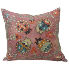19th Century Silk Embroidery Purple Suzani Pillow | From a unique collection of…