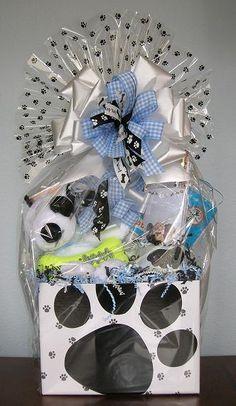 Raffle gift basket for Morris Animal Foundation.  I love using companies' logo colors!
