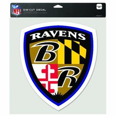 NFL Baltimore Ravens 8/8-Inch Die Cut Colored Decal-Shield by WinCraft. $7.99. Officially licensed decal. These decals are thermal cut and can be placed on a variety of surfaces, not just a window, with their self-adhesive back. Actual decal size varies depending on shape of logo that fits into a 8-Inch square. Made in USA.