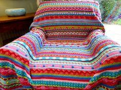 Ravelry: kerrypoos' Moroccan Bazaar Blanket George one day i will make this! Diy Crochet Afghan, Crochet Square Blanket, Crochet Afgans, Knitted Afghans, Manta Crochet, Afghan Crochet Patterns, Love Crochet, Knitted Blankets, Crochet Stitches