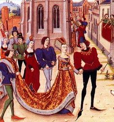 6. Late Middle Ages: Poulaine pointed shoes, on the man to the far Left and the man to the far Right