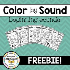 FREEBIE Color by Sound Beginning Sounds - teacher files: alphabet letters and sounds - Education Teaching Letters, Teaching Phonics, Kindergarten Writing, Kindergarten Worksheets, Kindergarten Classroom, Jolly Phonics, Teaching Letter Recognition, Letter Activities, Reading Activities