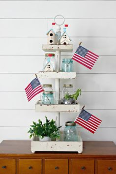 Festive trays make for a quick and easy of July decoration! Fourth Of July Decor, 4th Of July Decorations, Table Decorations, July 4th, Centerpieces, Galvanized Tiered Tray, Seasonal Decor, Holiday Decor, Tiered Stand