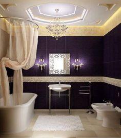 Impressive Bathroom Design Ideas in Limited Space Presents Shiny Look : Luxury Bathroom Design Ideas Purple Tile Bathroom Wall Cream Curtain Bathtub Walls, Bathroom Interior Design, Small Bathroom Decor, Purple Bathrooms, Elegant Bathroom, Bathroom Colors, Bathroom Design Luxury, Beautiful Bathrooms, Small Bathroom Design