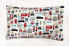 London cushion cover, UK bus, taxi, union jack,  12 x 20 inch pillow cover. £13.90, via Etsy.