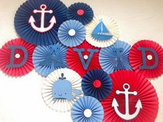 Nautical Paper Fans/ Nautical Birthday/ Under the Sea Birthday/ Red, White, Blue Paper fans/ Nautical Nursery Decor/ Nautical Baby Shower