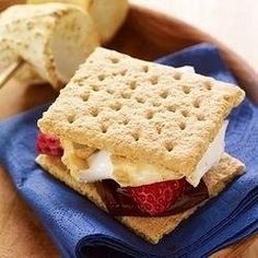 Yummy Strawberry S'mores  Just add a slice of strawberry to your s'mores...it's like chocolate covered strawberries!