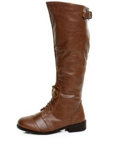 Bamboo Betsey 36 Chestnut Partial Lace-Up Oxford Riding Boots  $46.00