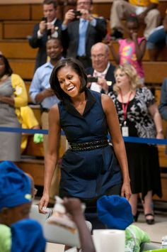 First Lady Michelle Obama greets campers at Camp Noah in Birmingham, Alabama.