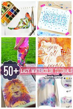 50 Plus Easy Watercolor DIY Decor and Art Tutorials @savedbyloves