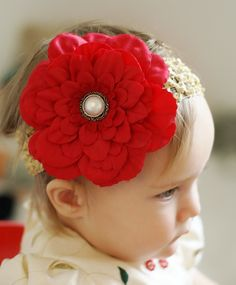 hairbow flower...red baby hair bow... baby flower head band...infant head band...hair bow for newborn, toddler and little girls... hairbow. $7.99, via Etsy.
