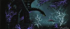 Concept art of Maleficent by Eyvind Earle for Disney's Sleeping Beauty (1959)