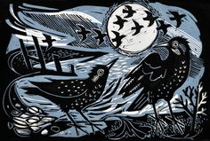 """""""Starlings on the Shore"""" by Mark Hearld for the Penfold Press (linocut)"""